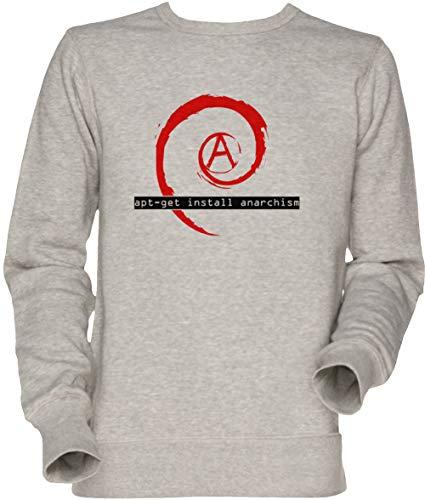 Vendax Apt-Get Install Anarchism Unisexo Hombre Mujer Sudadera Jersey Gris Men's Women's Jumper Sweatshirt Grey