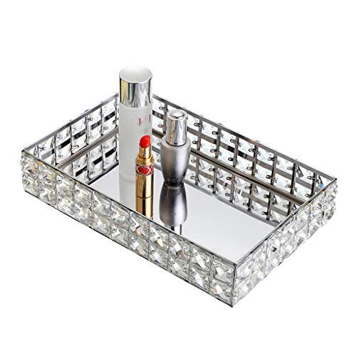 Hipiwe Bandeja de maquillaje de cristal con espejo, bandeja de joyería brillante, bandeja rectangular de perfumes, organizador de cosméticos para aparador, bandeja de baño para decoración del hogar