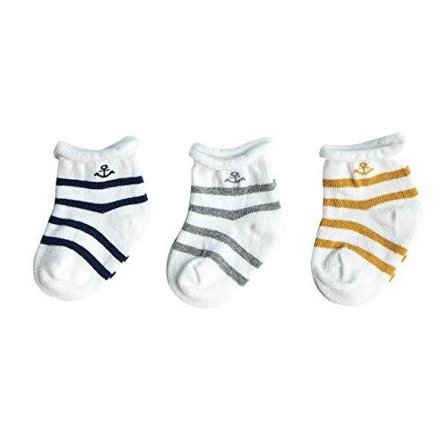 DEBAIJIA 3 Pares Calcetines de Algodón para Infantes Niñito Bebés Respirable Encantador Vistoso Raya Patrón 1-3 años para Recién Nacido Niño Niña - Azul Marino Gris Amarillo