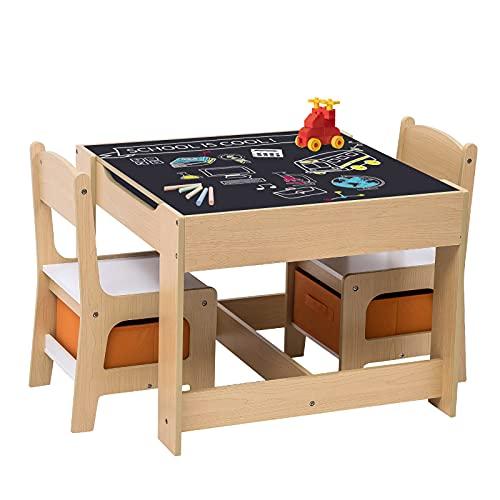 WOLTU 3 uds. Grupo de Asientos para Niños Mesa y 2 Sillas con Espacio de Almacenamiento para Juegos de Niños en Edad...