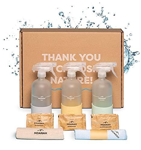 Moanah Bio Haushalts-Reiniger Starter-Set | Badreiniger + Allzweckreiniger + Glasreiniger | Putzen mit nachhaltigem Reinigungsmittel in 3 Glasflaschen (mit je 2 Nachfüll-Päckchen)