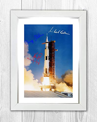 Engravia Digital Apollo 11 Lanzamiento 16 de julio de 1969 autógrafos de reproducción Aldrin, Collins y Armstrong fotografía Póster foto A4 Impresión (marco blanco)