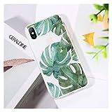 Glqwe Funda de la Hoja de la Planta en Maceta Verde para el iPhone 12 Mini Pro MAX 6 7 8 11 S Plus X S XR MAX Soft TPU CUBFER Clear (Color : AC7174, Material : For iPhone 12Pro)