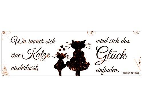 Interluxe Shabby Blechschild METALLSCHILD Türschild WO Immer Sich EINE Katze Zitat Geschenk