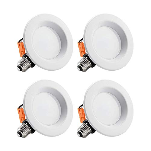 TORCHSTAR 4 Inch Dimmable LED Recessed Lighting with Smooth Trim, Retrofit Recessed Downlight, 10W (65W Equiv.), CRI 90, Wet Location, ETL Listed, 700lm, 5000K Daylight, Pack of 4