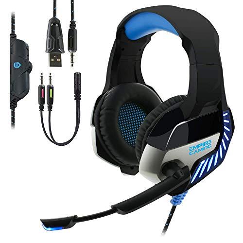 EMPIRE GAMING – Gaming Headset H1200 für PC, MAC, Kopfhörer für PS4, Nintendo Switch und XBOX One – Hochwertige Stereoqualität – Mikrofon mit Geräuschreduzierung