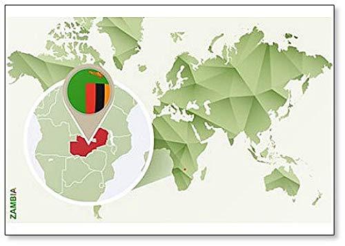 Kühlschrankmagnet Weltkarte mit Sambia & Flagge