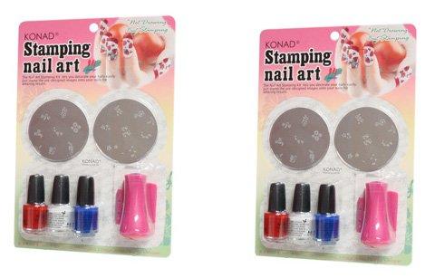 2x Konad Estados Unidos Stamping Nail Art C Juego completo de color rosa