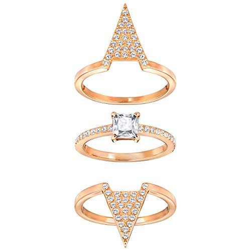 Swarovski Anillo apilable para mujer de acero inoxidable con cristal transparente y corte radiante 5241272