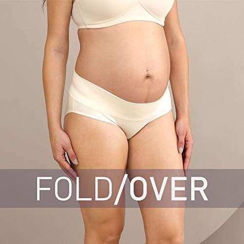 Intimate Portal Mujer Ropa Interior de Maternidad Plegables Braguitas Premamá Bragas Postparto Algodón PK de 6 Negro XL
