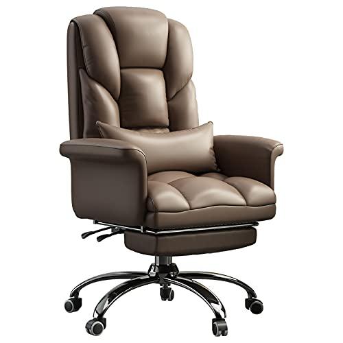 Leżące ergonomiczne krzesło z ukrytym podnóżkiem i wyściełanym podłokietnikiem, podparcie lędźwiowe komputerowe krzesło biurowe, fotel wypoczynkowy, czarny/biały/khaki