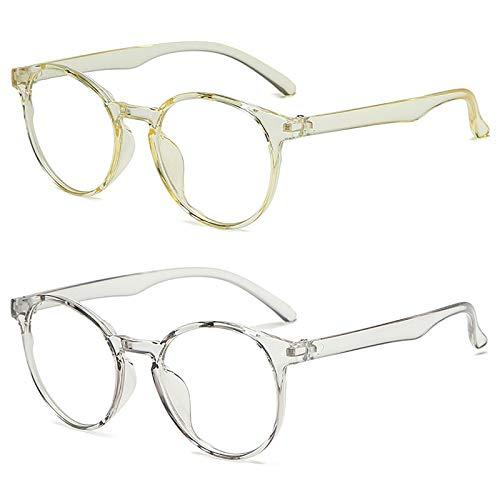 Bias&Belief Pack de 2 Gafas con Bloqueo de luz Azul Gafas para Juegos de computadora Marco de anteojos de Arte de Arte Retro Gafas Anti-Fatiga Ocular para Mujeres y Hombres,F