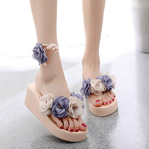 Shukun Tenen flip flop flip flop vrouwelijke zomer comfortabele slip on leggings met bloemen, strand pantoffels, platte sandalen, seaside