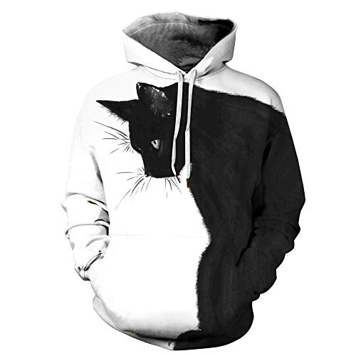 Novelty Graphic Hoodies for Kids Teens Boys Girls, Couple Hoodie 3D Print Hooded Kangaroo Pocket Unisex Sweater Sweatshirt Coat Tops Black Cat Observing Things Women Men Pullover