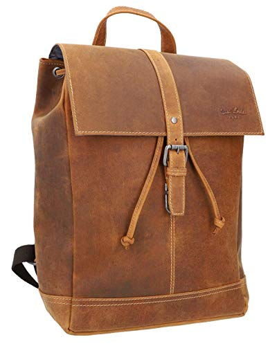 Gusti Leather Backpack 'Jaime' Waterproof Large Messenger Backpack School Backpack Daypack 17 Litres 15 Inch Backpack Women Men Unisex Brown Genuine Leather