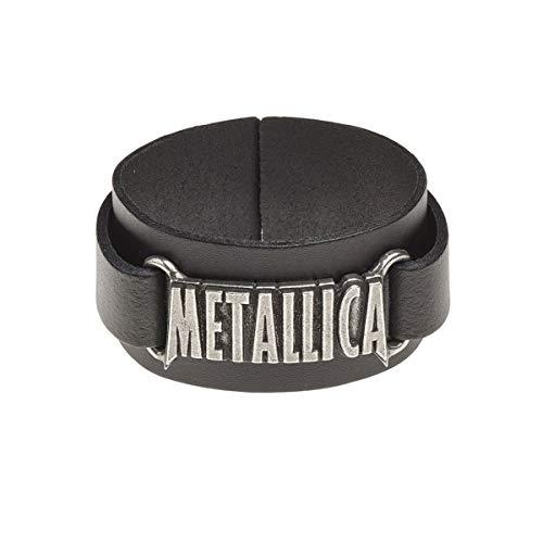 Metallica Logo Hombre Pulsera de Cuero Negro, Piel,
