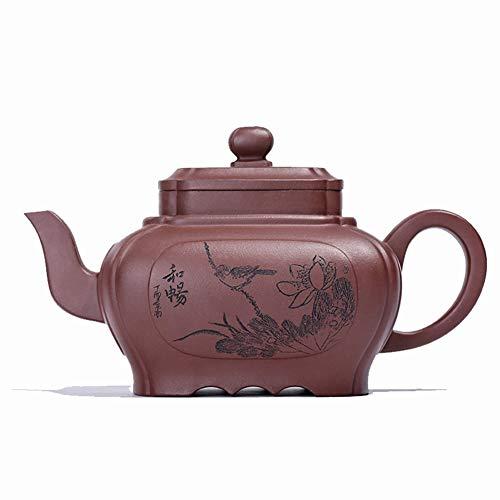 YYFUS Teapot Tea cup Jasper Quartet Craftsmen Handmade Oversized Goods Maker (Color : Purple mud, Size : One Size)