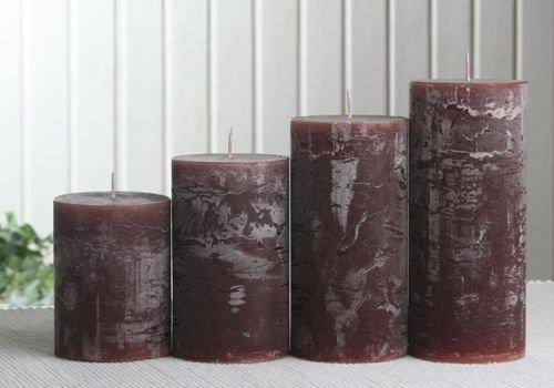 Rustik-Stumpenkerzen-Adventsset, mittel, 6 cm Ø, kaffeebraun
