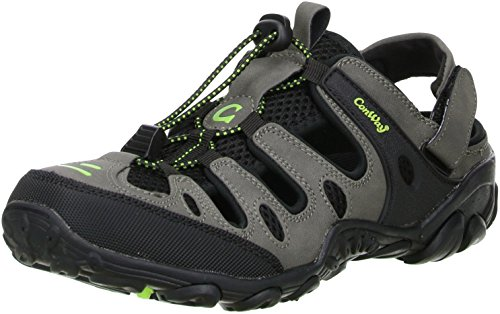 ConWay Damen Herren Trekkingsandalen Outdoorschuhe schwarz/grau/grün, Größe:46;Farbe:Grau