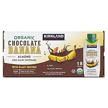 Kirkland Signature Organic Vegan Chocolate Banana Plant Protein Non-Dairy Almond Milk Beverage - 18 Count  8.25 fl oz