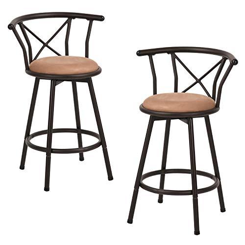 MEUBLE COSY Lot de 2 Tabouret de Bar Hauteur d'assise 63cm Pivotant Style Industriel Vintage avec Repose-Pied Rembourré avec Dossier et Coussin Marron 24 Pouces HAILEY 24 2PCS, Marron /58x48x86cm