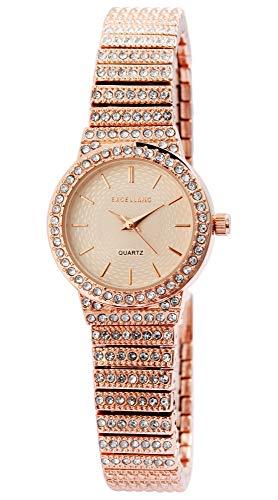 Excellanc Damen-Uhr Metall Gliederband Clipverschluss Strass Analog Quarz 1800191