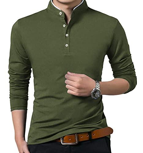 KUYIGO Maglia da Uomo Slim Fit Casual Tinta Unita Polo a Manica Lunga Maglietta da Golf di Base L Verde Militare