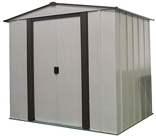 Arrow 6' x 5' Newburgh Eggshell with Coffee Trim Low Gable Electro-Galvanized Steel Storage Shed