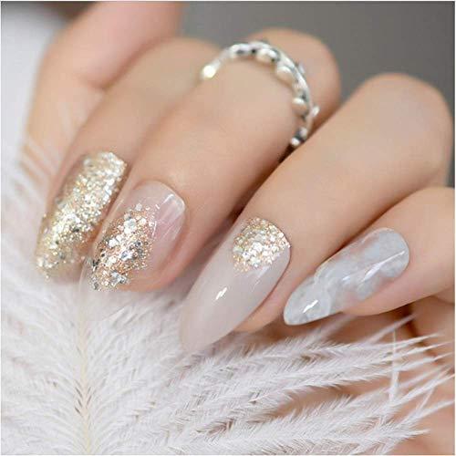 Valse nagels, nep nagels, natuurlijke parel elegante touch Franse Manicure, gouden ring mat donkerblauw stiletto ovale amandel puntige Frosted stijl druk op Valse slijtage nagel 5