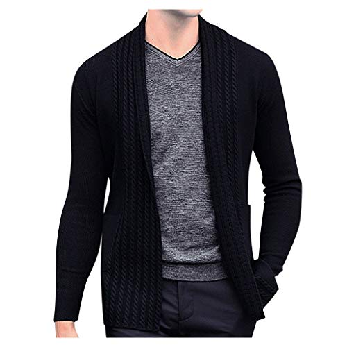 Bravetoshop Men's Knitted Open Front Cardigan Long Sleeve Winter Thick Slim Sweater(Black,M)