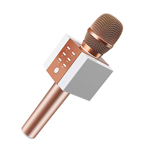 SPARKX Micrófono Inalámbrico De Karaoke Bluetooth, 10W Más Potencia, Mayores De Bajos, Altavoz Portátil De Tres En Uno Dobleta De Doble Cuerno,Rosado