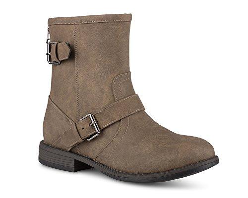 Twisted Amira Women's Ankle Boots, Zipper & Buckle, Low Heel Ladies...
