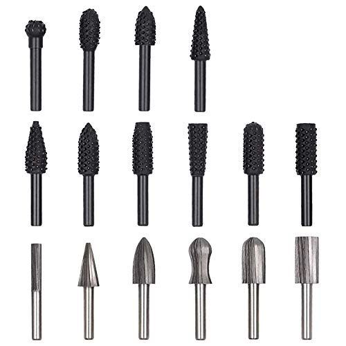 Drill Bit 16PCS Router Bits Woodworking File Rasp Chisel Drill Bit Rotary Cutting Burr Set With 1/4 Inch Shank