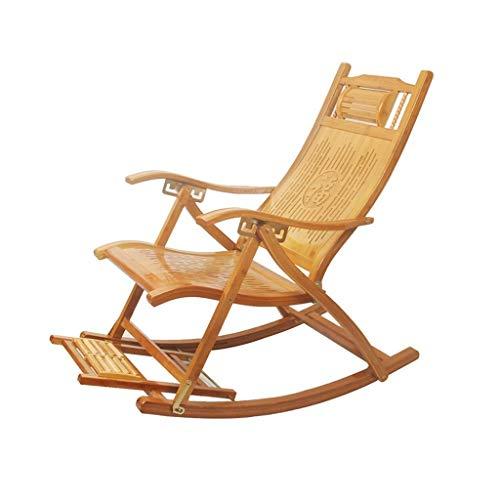 LLSS Silla Mecedora, Silla Plegable portátil Ajustable para el hogar, con reposapiés retráctil y Bola de Masaje, sillón para balcón