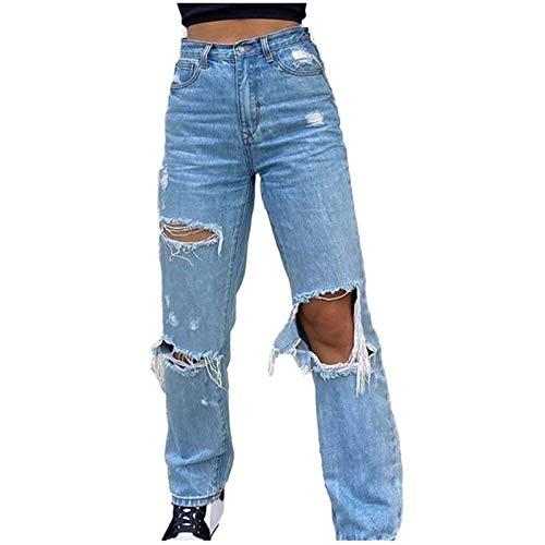 Damen High Waist Hole Jeans Lässige einfarbige Hose Elastic Loose Straight Pants mit Knopf und Tasche(M,Blau)