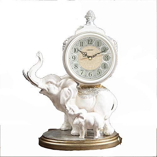 Joycaling Reloj de Mesa Tabla Elefante del Reloj del v Resina Sin tictac con Pilas Decorativa for la Oficina de la Sala Reloj de Mesa Antiguo Retro (Color : White, Size : 30x25x39cm)