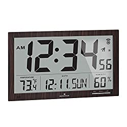 Marathon Slim Jumbo Auto-Set Atomic Digital Wall Clock with Temperature, Date, Humidity, 4 Time Zone, Auto DST, Self Setting, Self Adjusting, Batteries Included (Walnut Wood Tone)