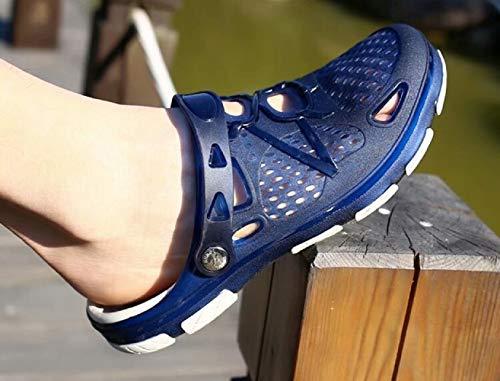 Zuecos Hombre Playa Piscina Sanitarios Enfermera Goma Verano Zapatillas de Trabajo Sandalias Negro Azul Amarillo 40-45 Azul 43