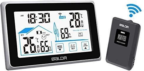FLYLAND Digitale Wetterstation, Wireless Digital Indoor Outdoor Thermometer Barometer Luftfeuchtigkeitsmesser Wetterstation Uhr mit Außensensor (Schwarz)