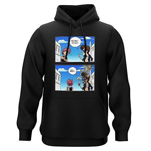 Okiwoki Sweat-Shirt à Capuche Noir Parodie Fairy Tail - Natsu Dragnir - Hey mec, t'as Pas du feu ? (Sweatshirt de qualité Premium de Taille S - imprimé en France)