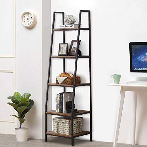 """O&K FURNITURE 5-Tier Ladder Shelf, Ladder Shelves, Industrial Style Bookcase, Leaning Bookcases and Book Shelves, Modern Storage Rack and Shelving Unit-72""""H x 20""""W x 17""""D, Rustic Brown Finish,(1-pc)"""