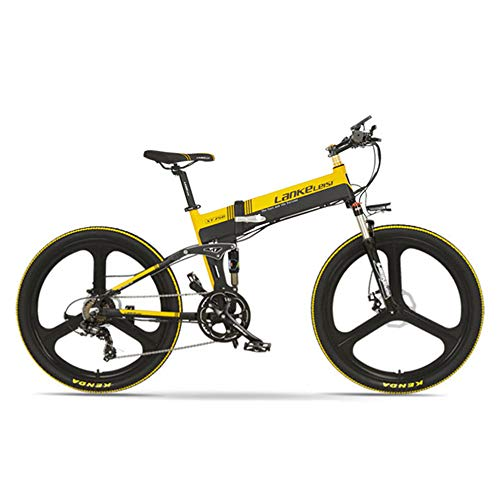 LANKELEISI XT750-E 26 Inch Folding Electric Bike, Front & Rear Disc Brake, 48V 400W Motor, Long Endurance, with LCD Display, Pedal Assist Bicycle (Black Yellow, 10.4Ah)