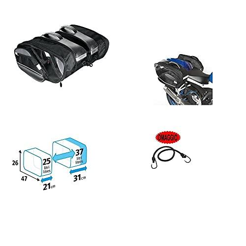 Compatible con TGB Bullet 50 Par de bolsas laterales Lampa 25-37 l Bolsa de acoplamiento universal para moto scooter 2 bolsas 47 x 26 x 21-31 cm