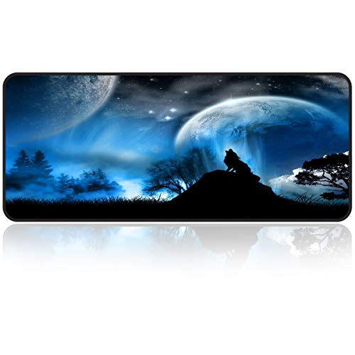 Large Gaming Mouse Pad with Edge Stitching|Extended XXL Size, Heavy|Thick, Comfy, Foldable Mat for Desktop, Laptop,Keyboard, 31.5'x11.8'x0.15' Cool Wolf & Moon Keyboard Pad by Qisan