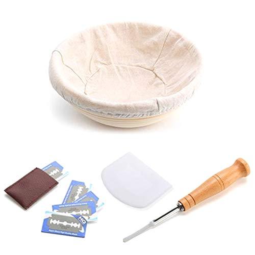 Jinghengrong La Forma Redonda de Pan de Masa fermentada de corrección de la Cesta Demostrando Recipiente metálico de Masa raspador Pan Bolsa Kit