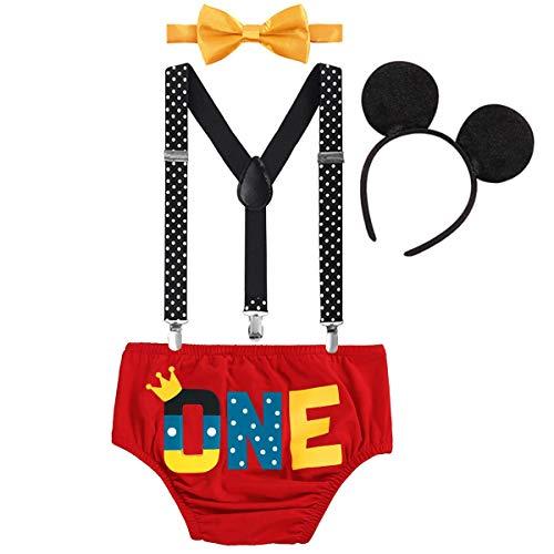 FYMNSI - Disfraz de ratón para bebé con tirantes en forma de Y espalda + pajarita + pantalones + diadema para orejas + diadema para orejas Rojo Red One 1st Birthday 6-12 Meses