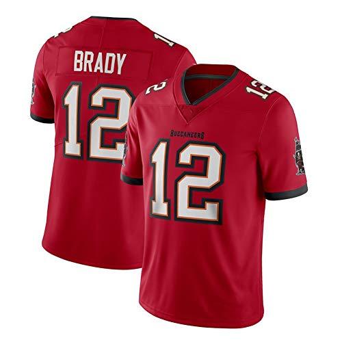 EBDC Tom Brady Tampa Bay Buccaneers 12 # Rugby-Trikot für Erwachsene, Herren, American Football-Fans, Trainings-T-Shirts, Outdoor-Sport, kurze Ärmel, bequem, atmungsaktiv Gr. XL (188/193 cm), Rot a