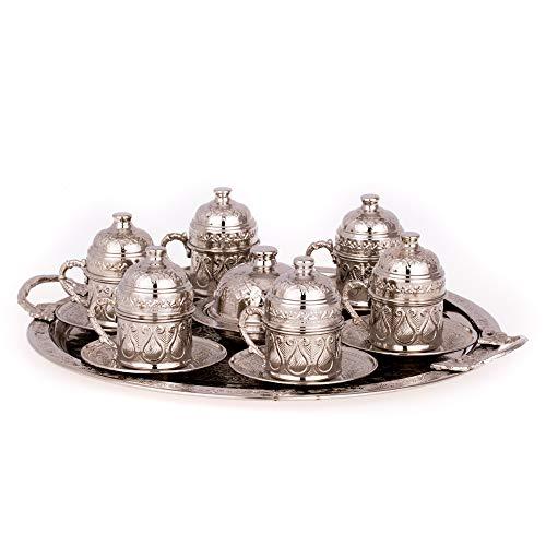 Türkische Kaffeetassen set mit deckel ,servier platte und Süssigkeitenteller - Kahve seti - Spezielle türkische Kaffee/Mokkatassen set - Orientalische Kaffeetasse | 6 Person (Silber)