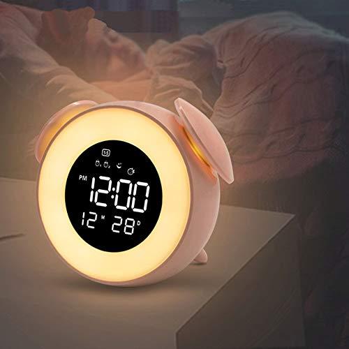 LIPETLI Schlaftrainer mit Analogen Sonnenauf- und -Untergangsfunktionen, 25 MusiktöNen, Intelligenter Digitaler Nachttischuhr, Nachtlicht Mit VerzöGerter Schlaffunktion,Rosa