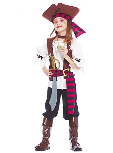 Guirca Costume piratessa des Sept Mers Fille, Multicolore, 5/6 Ans, 85381